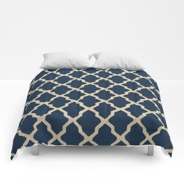 V3 Dark Blue Traditional Moroccan Pattern Texture. Comforters