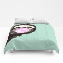 Bubble Gum Sneaky Sloth in Green Comforters