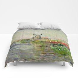 "Claude Monet ""Tulip field in Holland (Champ de tulipes en Hollande)"" Comforters"