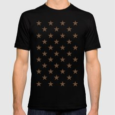 Stars (Coffee/White) Mens Fitted Tee MEDIUM Black