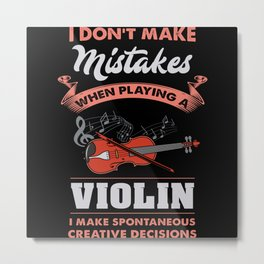 Violin Violin Player Lover Gift Idea Motif Metal Print