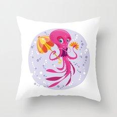 Miss Octopus Throw Pillow