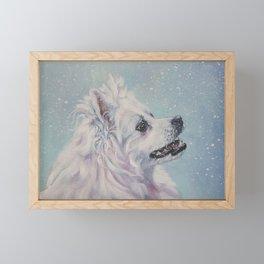 American Eskimo Dog portrait Fine Art Dog Painting by L.A.Shepard Framed Mini Art Print