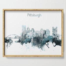 Pittsburgh Monochrome Blue Skyline Serving Tray