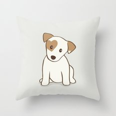 Heart spotted jack Russell Terrier Dog Throw Pillow