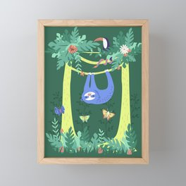 Sloth Hanging Around in the Forest Framed Mini Art Print