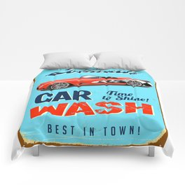 car wash retro Comforters