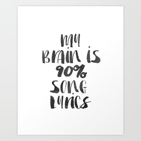 "Funny quote ""My Brain Funny Wall Art Bedroom Decor Funny Print Bathroom Decor Print Teen Poster Art Print"