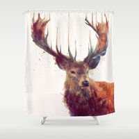 amy pond Shower Curtains featuring Red Deer // Stag by Amy Hamilton