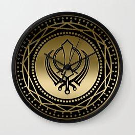 Decorative Khanda symbol gold on black Wall Clock