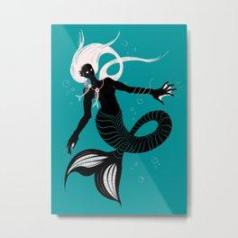 Creepy Dark Mermaid With Fish Skeleton Necklace Metal Print