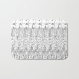 Feather Pattern | Grey and White Bath Mat