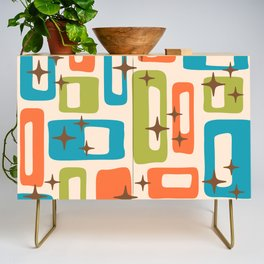 Retro Mid Century Modern Abstract Pattern 921 Orange Chartreuse Turquoise Credenza
