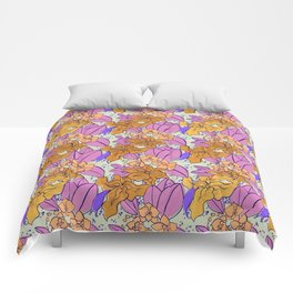 Yellow Lilies and Orchids Comforters