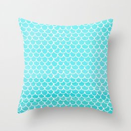Let´s be mermaids- Aqua Mermaidscales - into the Sea Throw Pillow