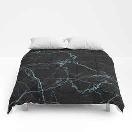 Modern abstract black teal elegant glitter marble Comforters