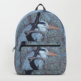 Grey Heron (Ardea Cinerea) Colored Pencils Artwork Backpack