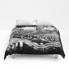 platine board conductor tracks splatter watercolor black white Comforters