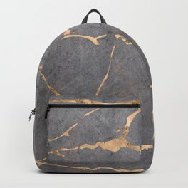 Marble gray with gold Backpack