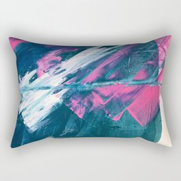 Wild [3]: a bold, vibrant abstract minimal piece in teal and neon pink Rectangular Pillow