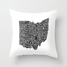 Typographic Ohio Throw Pillow