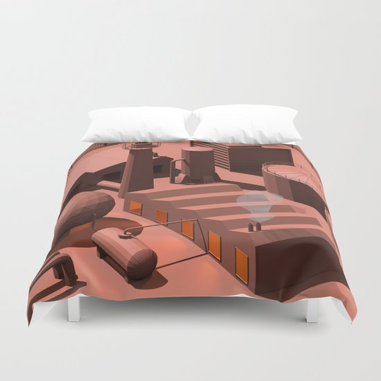 Low Poly Industry Duvet Cover
