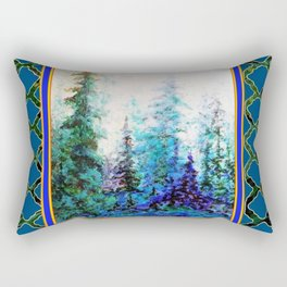 WESTERN  BLUE FOREST WATER COLOR TEAL PATTERN ART Rectangular Pillow