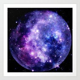 Galaxy Planet Purple Blue Space Art Print