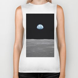 Earth rise over the Moon Biker Tank