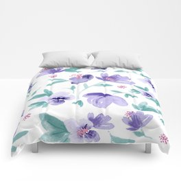 Cute purple flowers pattern Comforters