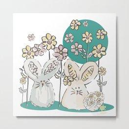 Pastel easter eggs and bunnys III Metal Print