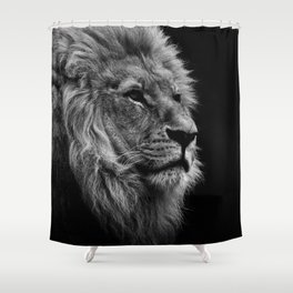 Black Print Lion Shower Curtain