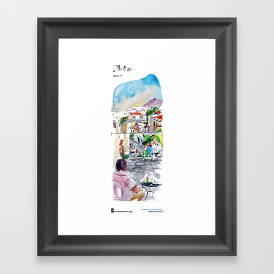"Delphine Priollaud-Stoclet, ""Quartier de Plaka, Athènes"" Framed Art Print"