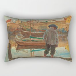 Carl Wilhelmson Boy Fishing Rectangular Pillow