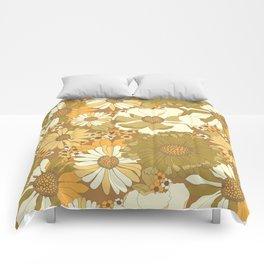 Brown, Orange, Ivory & Green Vintage Flower Pattern Comforters
