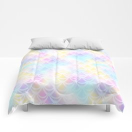 Pale Pink Mermaid Tail Abstraction. Pastel Magic Fish Scale Pattern Comforters