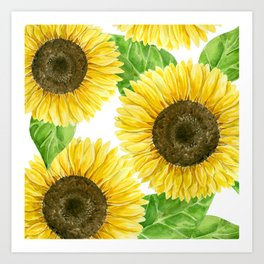 Sunflowers watercolor Art Print
