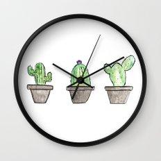 3 types of cactus Wall Clock