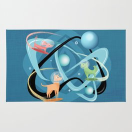 Atomic Rocket Powered Space Dogs Rug