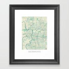 Sacramento Map Blue Vintage Framed Art Print