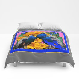 BLUE PEACOCK &  PINK-GREY COLOR YELLOW FLOWERS Comforters