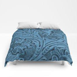 Cornflower Blue Tooled Leather Comforters