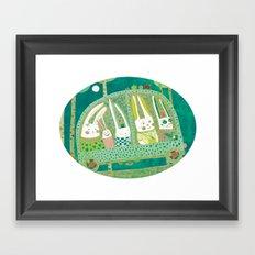 Rabbit journey Framed Art Print