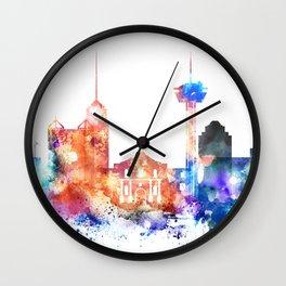 San Antonio Watercolor Skyline Wall Clock