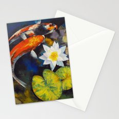 Koi Fish and Water Lily Stationery Cards