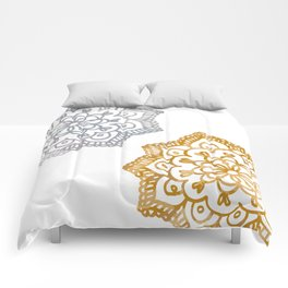 Gold and silver lace floral Comforters