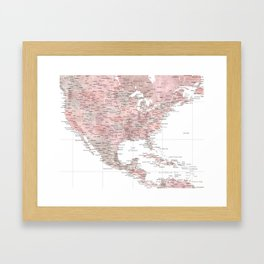 Map of USA Mexico and the Caribbean Sea in dusty pink and grey watercolor Framed Art Print