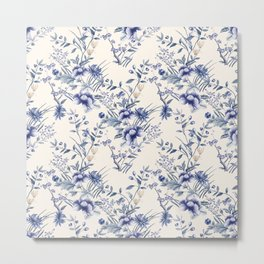 Chinoiserie Flowers Blue on Seashell Metal Print