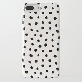 Modern Polka Dots Black on Light Gray iPhone Case