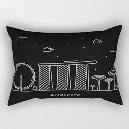 Singapore Minimal Nightscape / Skyline Drawing Rectangular Pillow